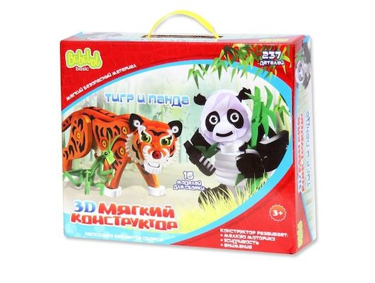 Конструктор Bebelot BEB0706-019 3D мягкий конструктор Тигр и панда