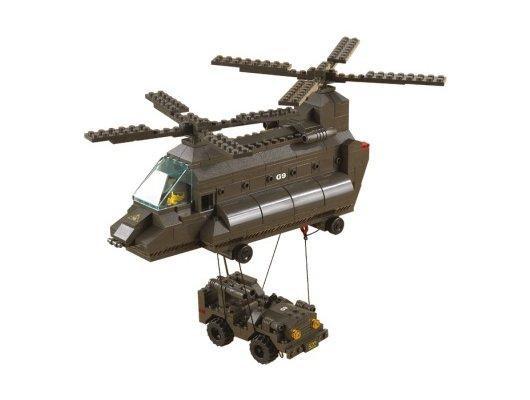 Конструктор SLUBAN M38-B6600 Транспортный вертолет и джип