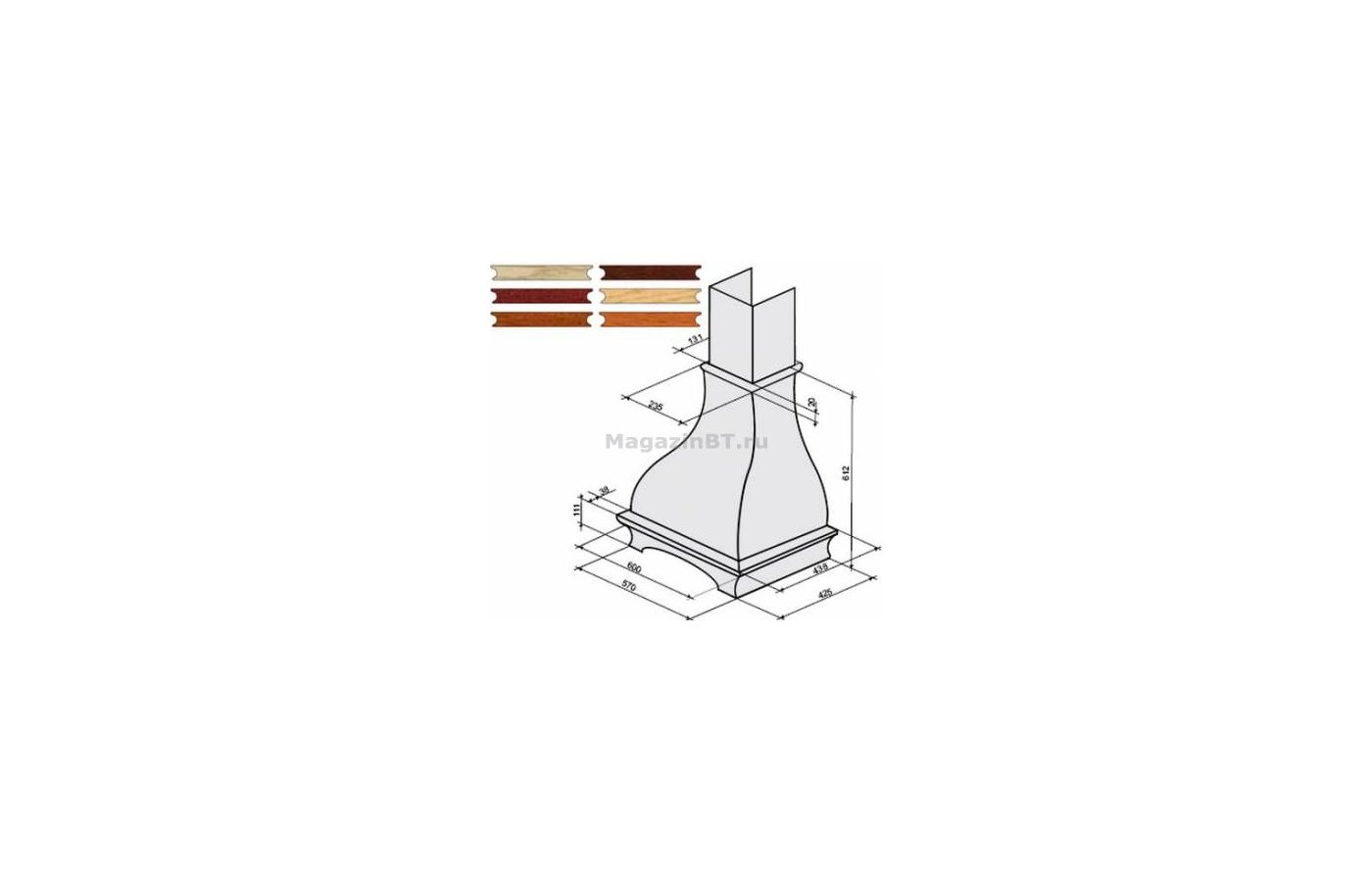 Аксессуар для в/о KRONA комплект багетов в упаковке для Gretta 600 CPB/3 (тем.орех)