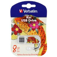 Флеш-диск USB 2.0 Verbatim 8Gb Store n Go Mini TATTOO EDITION KOI белый