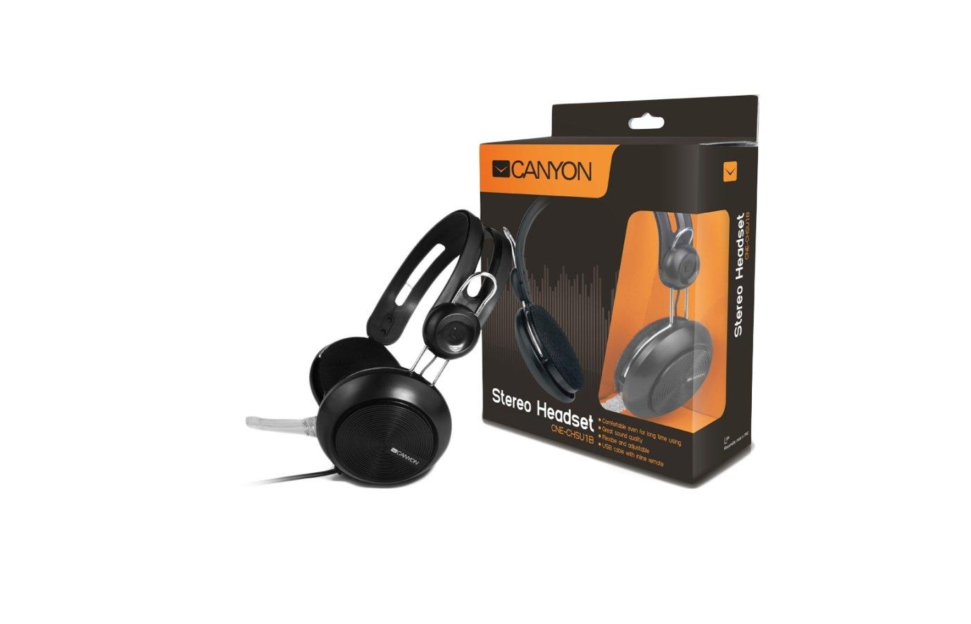 Наушники с микрофоном проводные CANYON CNE-CHSU1B USB Black