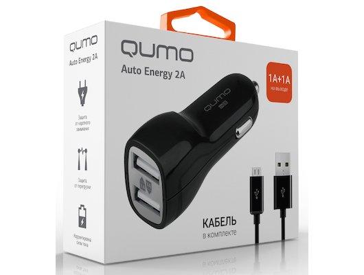 Зарядное устройство QUMO АЗУ 2xUSB 2A + кабель microUSB