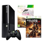 Фото Microsoft Xbox 360 E 3M4-00043 черный + 2 игры: Forza Horizon 2+Gears of War 2
