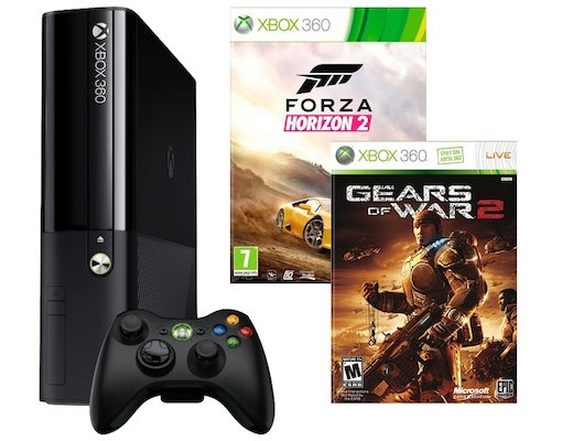 Microsoft Xbox 360 E 3M4-00043 черный + 2 игры: Forza Horizon 2+Gears of War 2