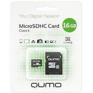 Фото Карта памяти QUMO microSDHC 16Gb Class 4 + адаптер