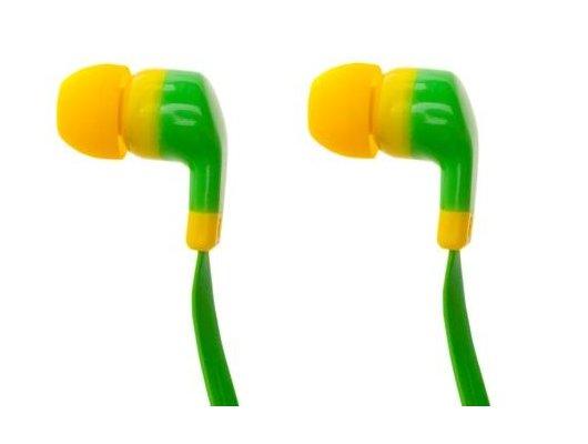 Наушники вкладыши Partner Positive зелено-желтые