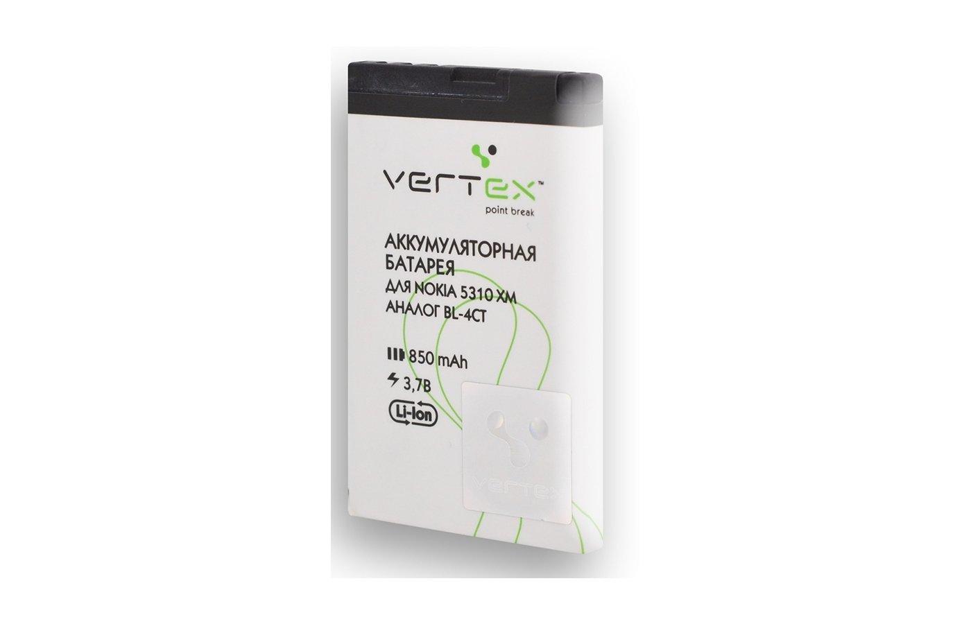 Аккумулятор VERTEX BL-4CT для Nokia 850mAh