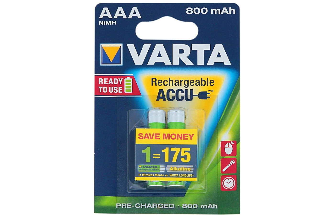 Аккумулятор VARTA AAA 800mAh Ni-Mh 2шт.