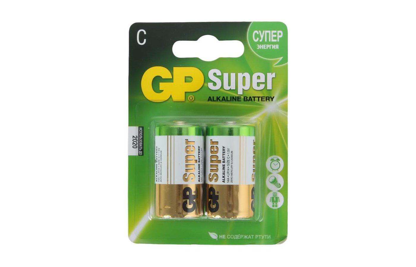 Батарейка GP Super LR14 C 2шт. (14A-CR2)