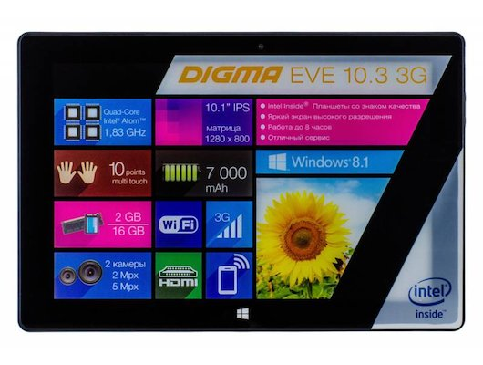 Планшет Digma EVE 10.3 3G /ES1003EG/ intel Bay Trail 4C/16Gb/3G/Win8