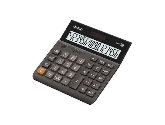 Калькулятор CASIO DH-16 коричневый/черный 16-разр.