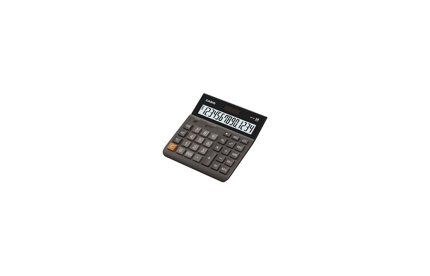 Калькулятор CASIO DH-14 коричневый/черный 14-разр.