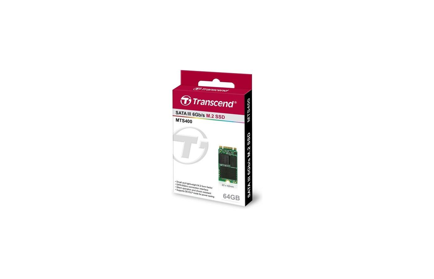 SSD жесткий диск Transcend 64GB M.2 SSD MTS 400 series (22x42mm) TS64GMTS400