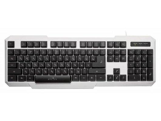 Клавиатура проводная Oklick 740G белый/черный USB LED