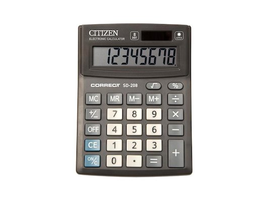 Калькулятор Citizen Correct SD-208 черный 8-разр.