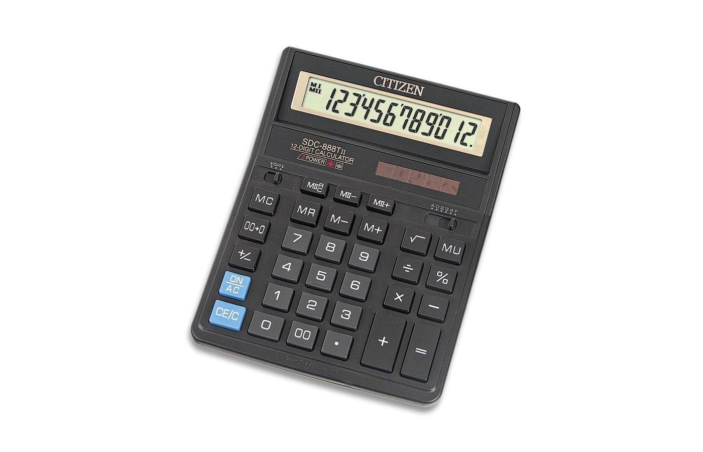 Калькулятор Citizen SDC-888TII черный 12-разр.
