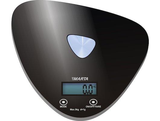 Весы кухонные MARTA MT-1632 черн/цветы