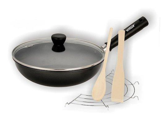 Сковорода WOK VITESSE VS-7653 Сковорода ВОК с крышкой 25 см. сталь АПП