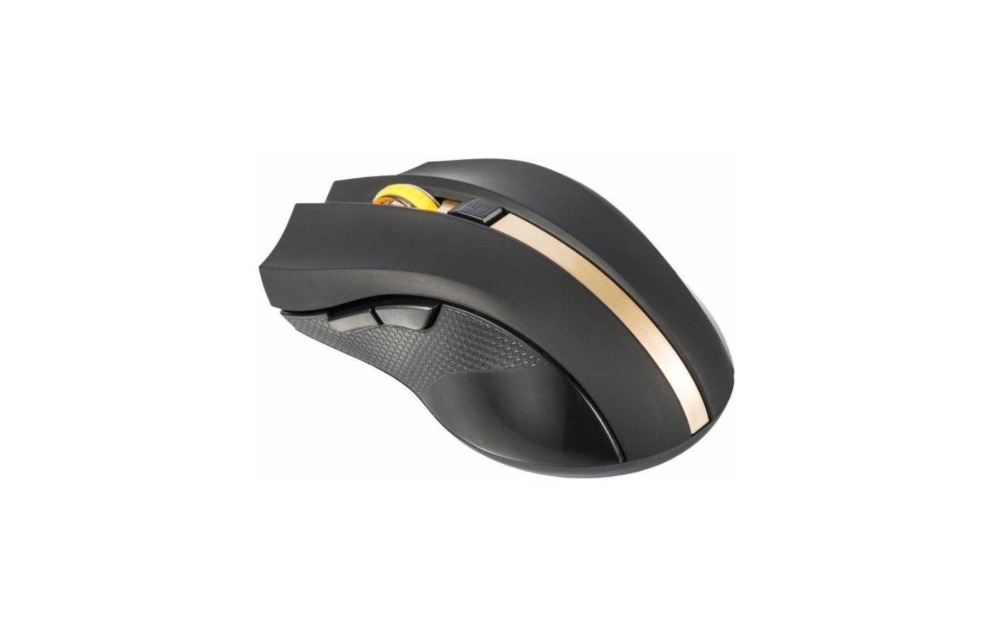 Мышь беспроводная Oklick 495MW черный/золотистый