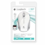 Фото Мышь беспроводная Logitech Wireless Mini Mouse M187 White-Silver USB