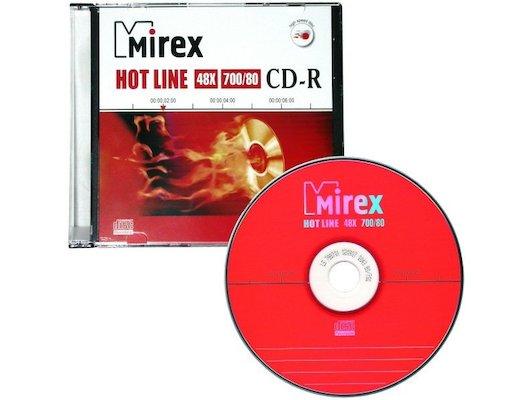 CD-диск CD-R Mirex HOTLINE 700 Мб 48x Slim case (UL120050A8S)