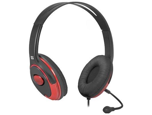 Наушники с микрофоном проводные Defender Phoenix 875 черный + красный 1.8м