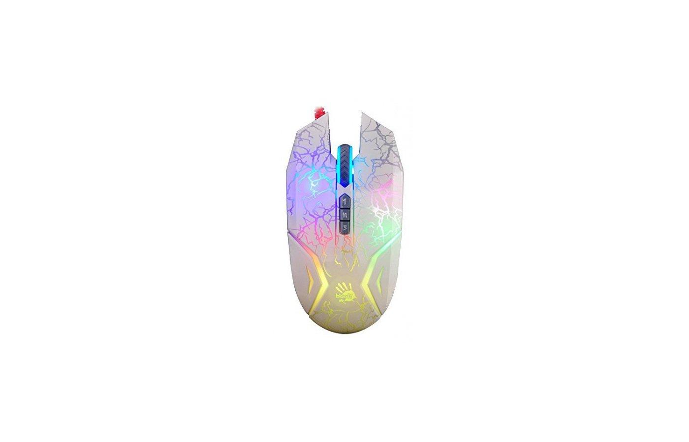 Мышь проводная A4Tech Bloody N50 Neon белый оптическая (4000dpi) USB2.0 игровая (7but)