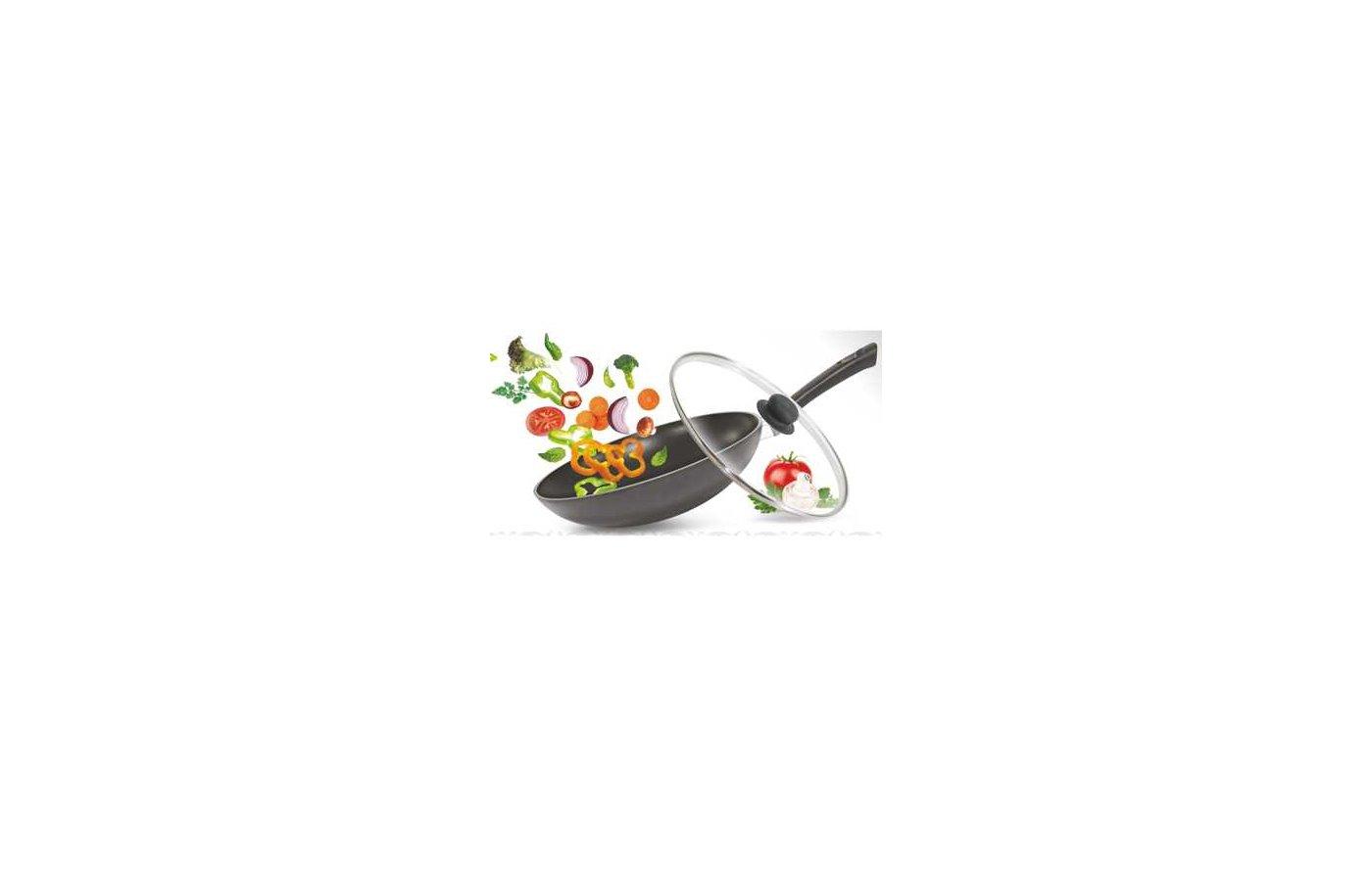 Сковорода WOK KUKMARA св282а Сковорода wok 280/70мм с ручкой ст. крышкой Традиция АП
