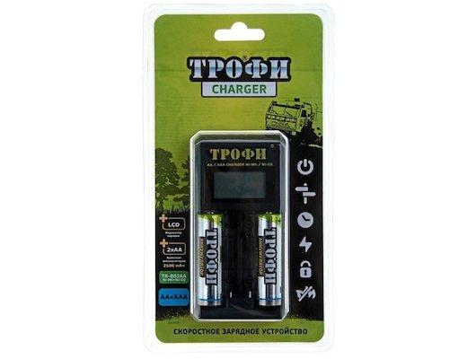 Зарядное устройство Трофи TR-803 для 2xAA/2xAAA LCD скоростное + 2шт. AA 2500mAh