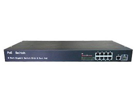 Аксессуары для видеосистем IVUE-PS10-1F8T-1U10-ти портовый 1U свитч, 1 порт Гб, 1 порт SFP- 1Гб, 8 портов HPoE
