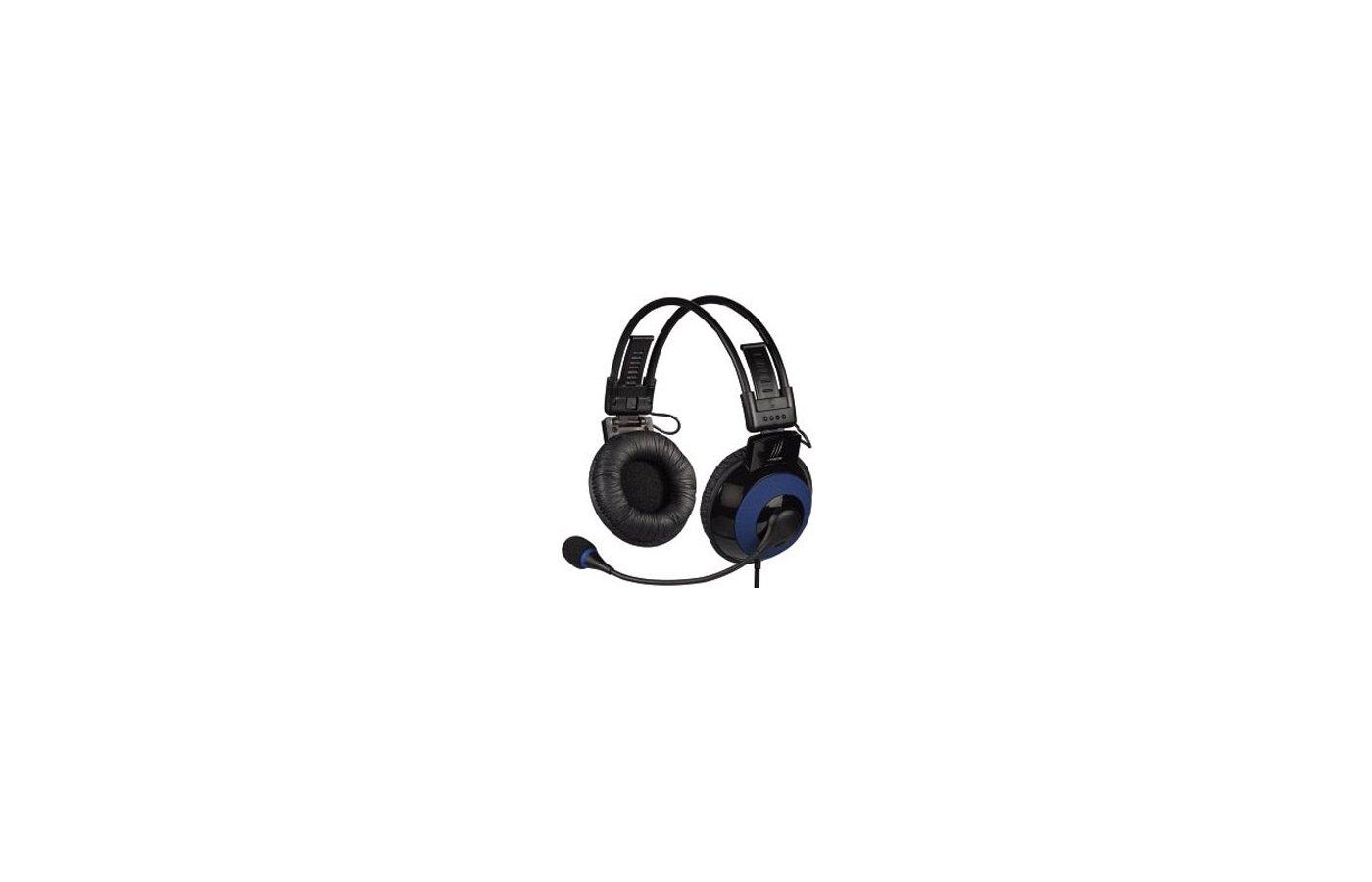 Наушники с микрофоном проводные Hama uRage Vibra черный/синий (2.5м) накладные (оголовье)
