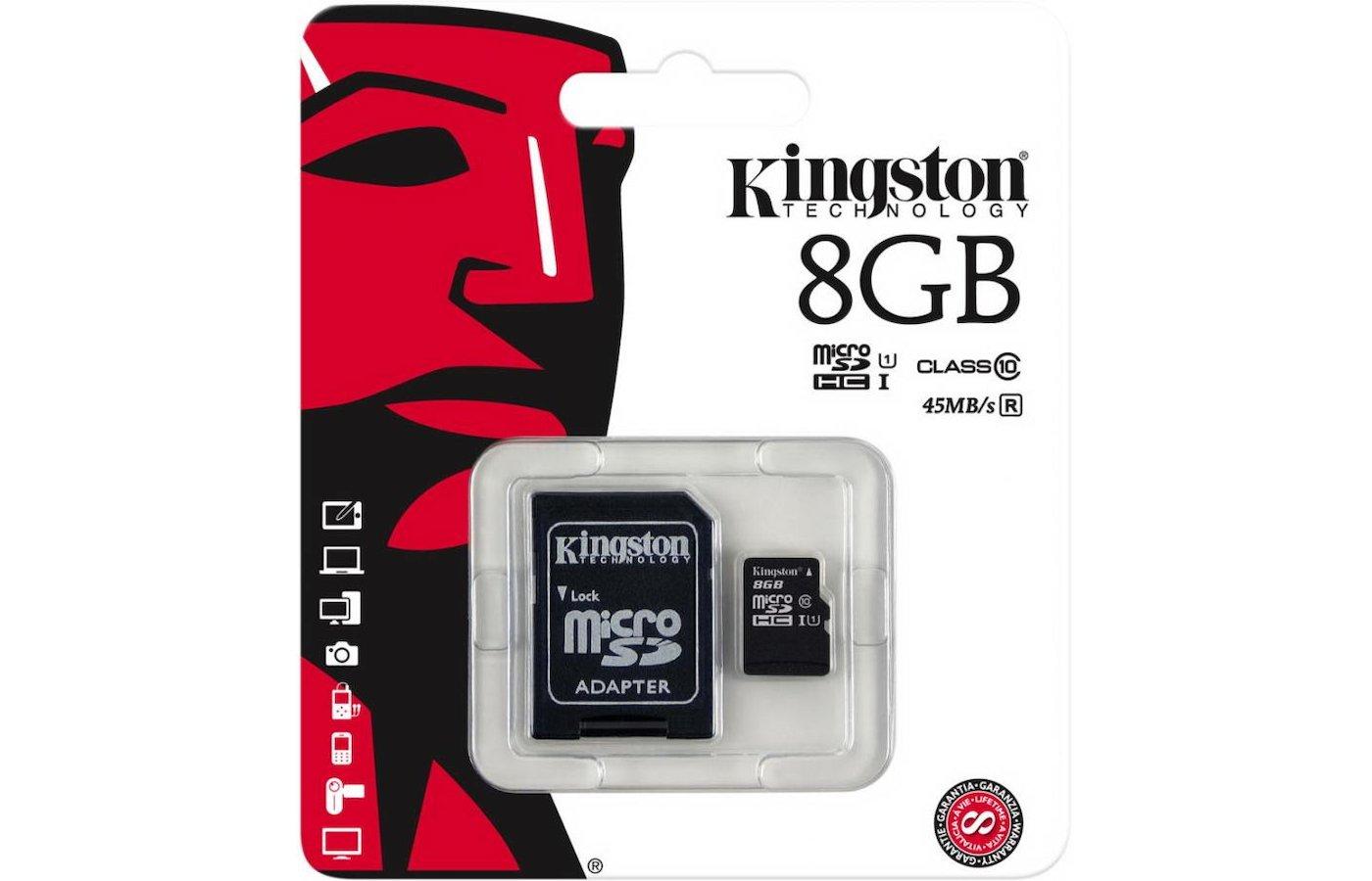 Карта памяти Kingston microSDHC 8Gb Class 10 + адаптер (SDC10G2/8GB)