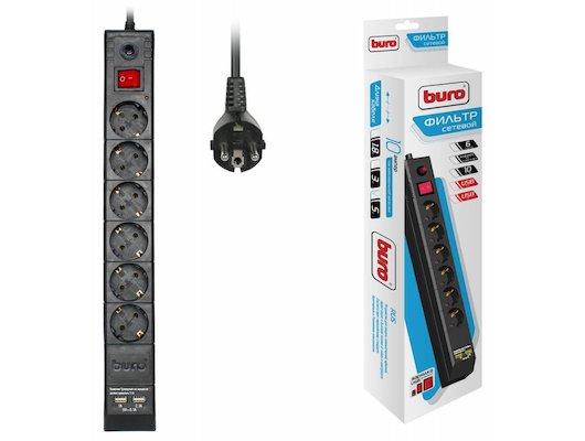 Сетевой фильтр BURO BU-SP5-USB-2A-B 6роз./5м. черный