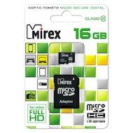 Фото Карта памяти Mirex microSDHC 16Gb Class 10 + адаптер