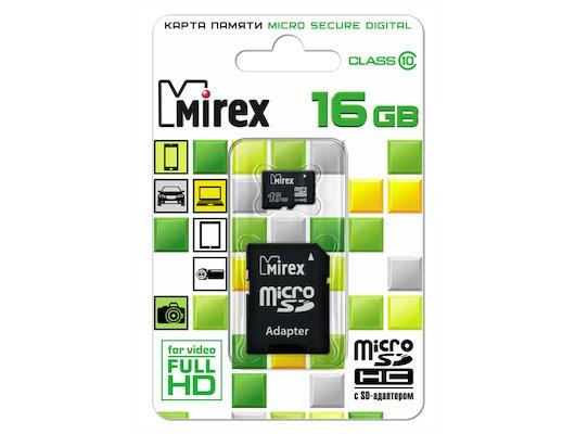 Карта памяти Mirex microSDHC 16Gb Class 10 + адаптер