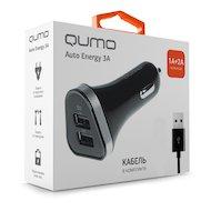 Зарядное устройство QUMO АЗУ 2xUSB 3A + кабель microUSB
