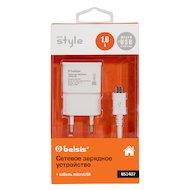 Фото Зарядное устройство BELSIS СЗУ USB 1A + кабель microUSB (BS1407) белый