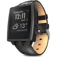 Смарт-часы Pebble SmartWatch Steel черные кожаный ремешок