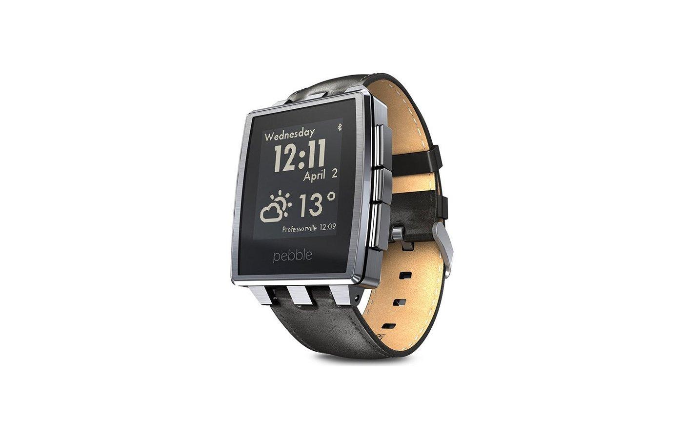 Смарт-часы Pebble SmartWatch Steel серебристые кожаный ремешок