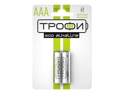 Батарейка Трофи AAА 2шт. Alkaline ECO (LR03-2BL)