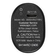 Фото Портативный аккумулятор APC PowerPack M3BK-EC Li-Pol 3000mAh 1A черный