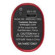 Фото Портативный аккумулятор APC PowerPack M3RD-EC Li-Pol 3000mAh 1A красный