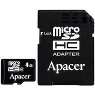 Карта памяти Apacer microSDHC 4Gb Class 4 + адаптер (AP4GMCSH4-R)