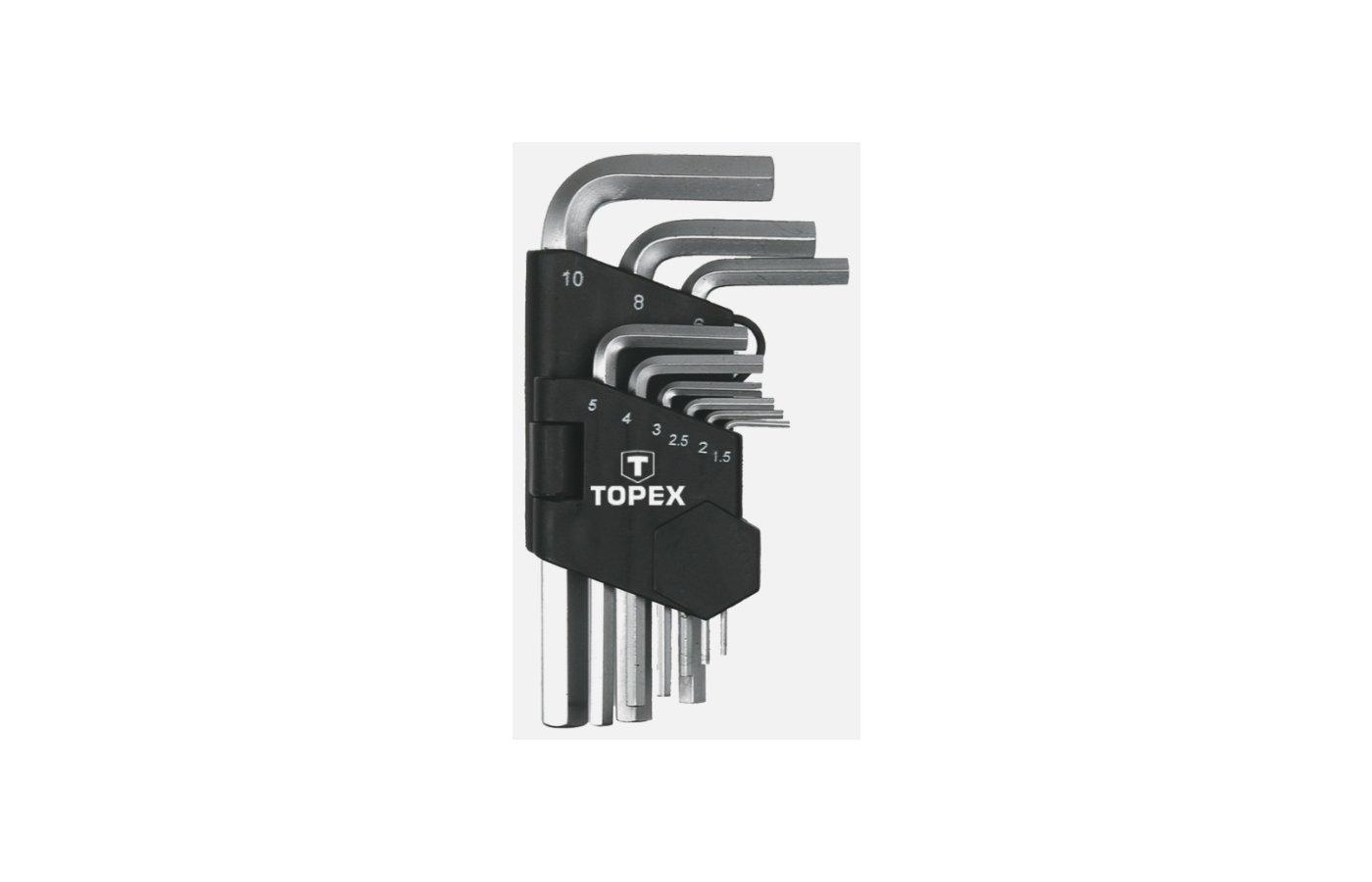 Набор ручных инструментов TOPEX 35D955 Ключи шестигранные 1.5-10 мм. набор 9 шт.