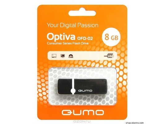 Флеш-диск USB 2.0 QUMO 8GB Optiva 02 Black