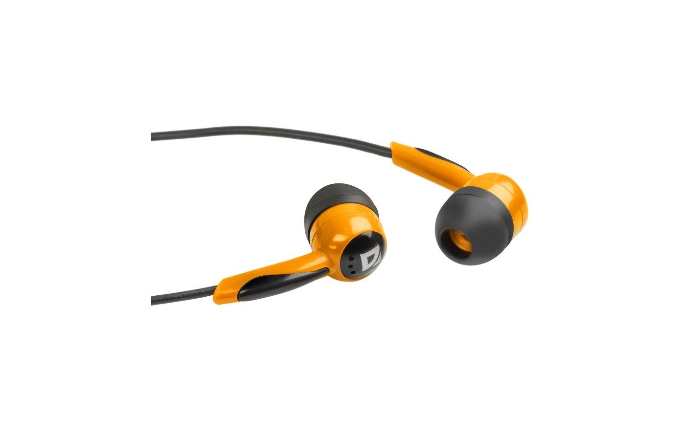 Наушники вкладыши Defender Basic 604 черный + оранжевый