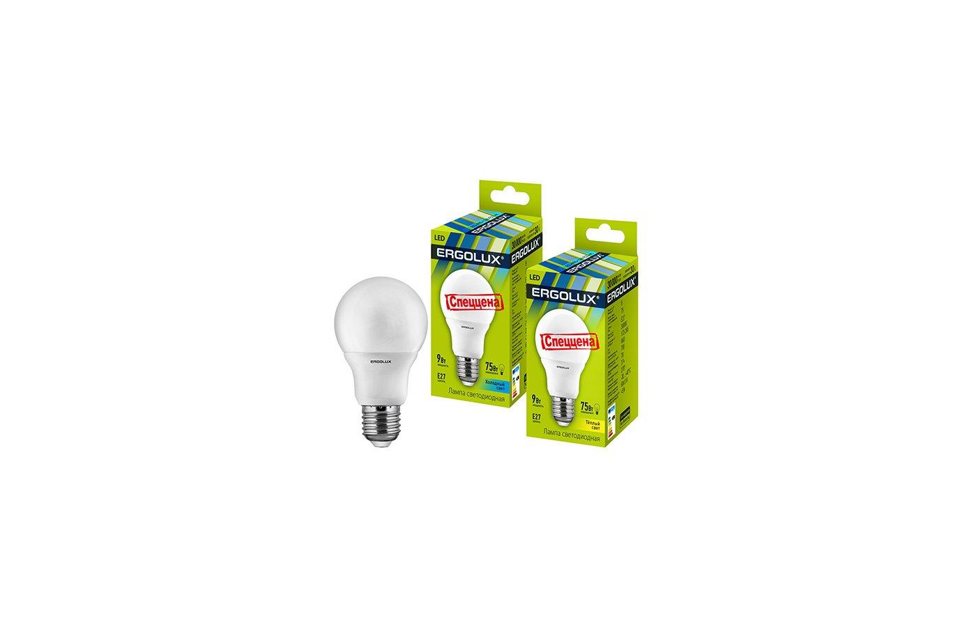 Лампочки LED Ergolux LED-A60-9W-E27-3K (Эл.лампа светодиодная ЛОН 9Вт E27 3000K 172-265В)