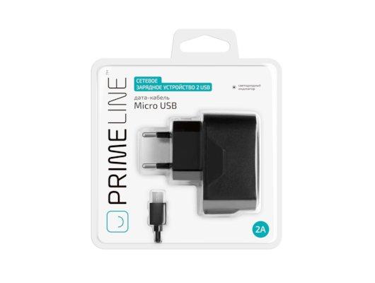 Зарядное устройство Prime Line СЗУ 2 USB 2A черный