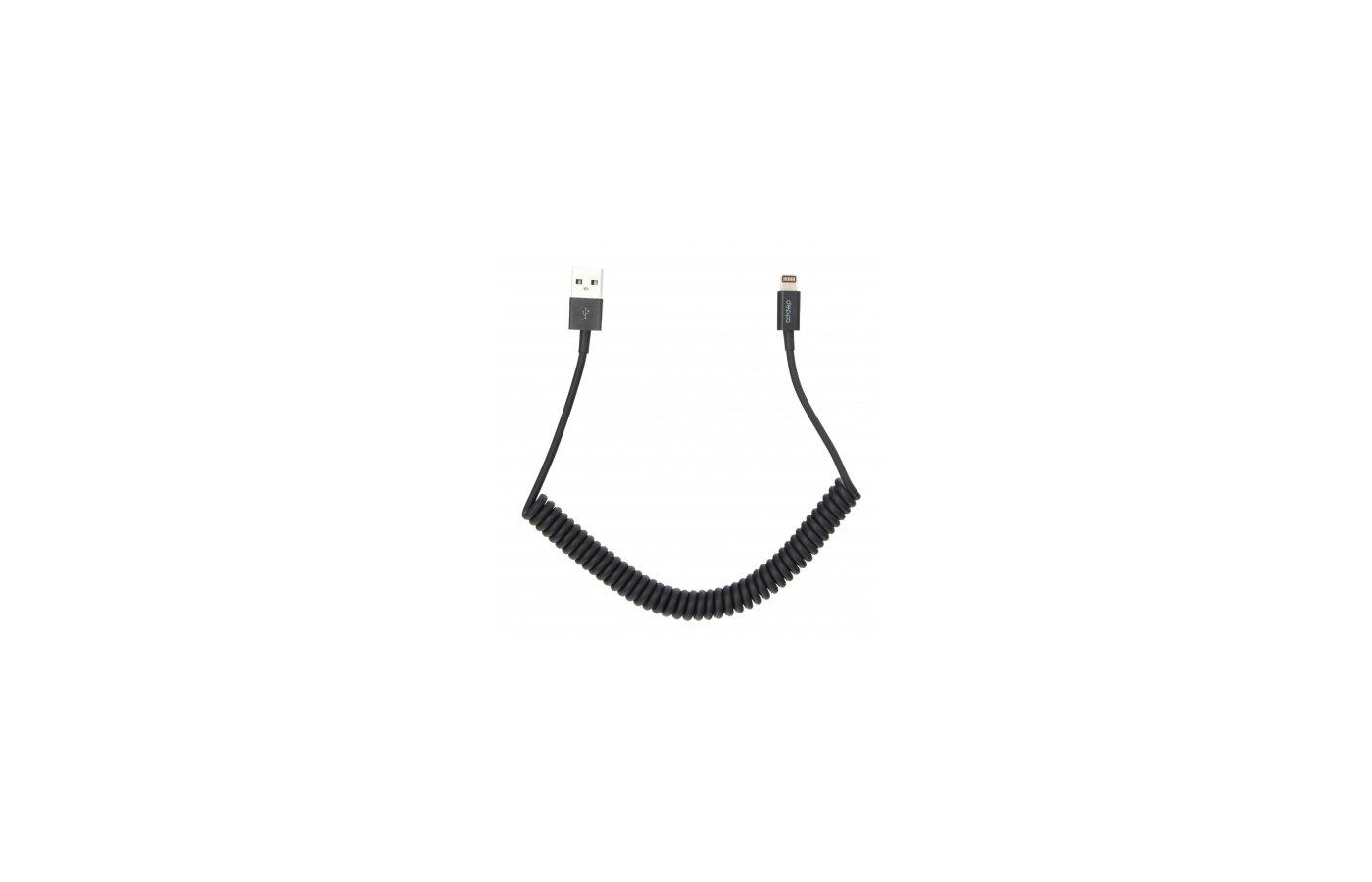 Кабель Deppa Lightning 8-pin витой черный(72121)