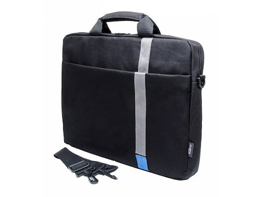 "Кейс для ноутбука PC PET PCP-1001BL 15.6"" Polyester HQ Classic Toplader Front compartment Blue Patch Черный"